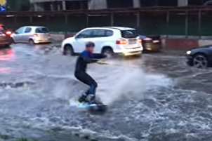 Urban Wakeboarding: Month's worth of rain falls in one day in Moscow
